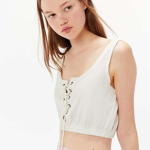 ✨Urban Outfitters White Lace Up Crop Tank sz S